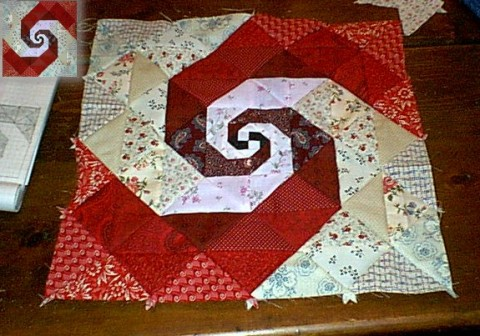 Spiraling - a monkey wrench quilt square