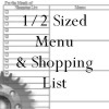 menus and shopping lists for the 1/2 sized planner