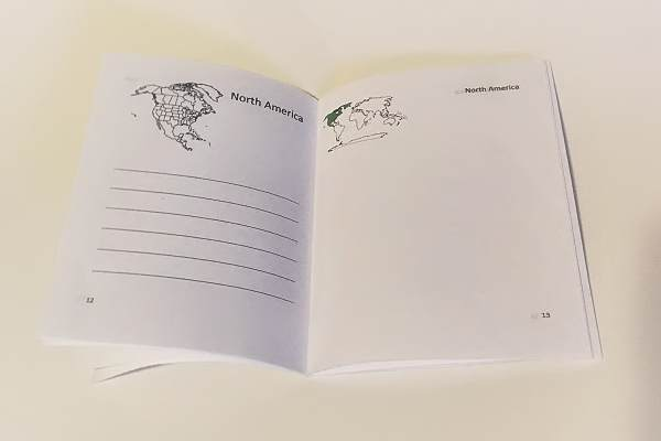 Animals of the World Booklet open at North America