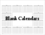 Blank Calendars - One year on one page