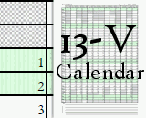13-V - 13 Vertical Months Calendar - The calendars begin in the months of May, June, July, August, and September.