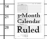 Calendars - 3-Month - Ruled