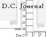 D.C. Journal is a lined calendar that prints 6 pages for each month.