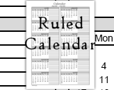 Ruled calendars begin in the months of June, July, August.