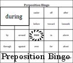 Generated Preposition Bingo Set One - 72 Cards