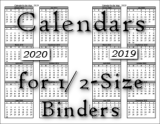 calendars for the 1/2 sized planner