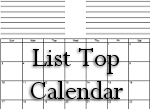List Top - Month on a Page Calendar