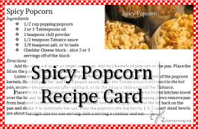 spicy popcorn recipe card