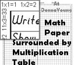 math work paper surrounded by a multiplication table