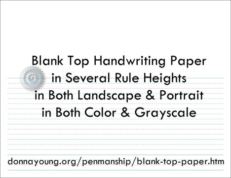 Printable balnk top handwriting paper