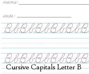 Connecting Cursive Capitals Letter B