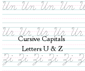 Connecting Cursive Capitals Letter U and Z