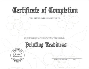 Printing Readiness Certificate