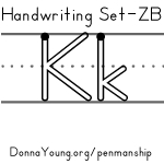 handwriting worksheets for the letter k in zaner bloser style