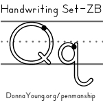 handwriting worksheets for the letter q in zaner bloser style