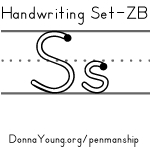 handwriting worksheets for the letter s in zaner bloser style