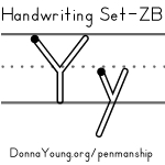 handwriting worksheets for the letter y in zaner bloser style