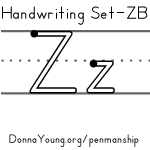 handwriting worksheets for the letter z in zaner bloser style