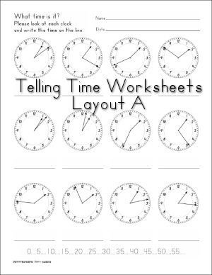 Telling Time - Clock worksheets by Donna Young